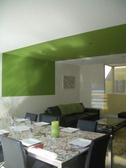 Fullagar Residence 21_living + dining with green ceiling strip 2_Stephen Varady Photo ©