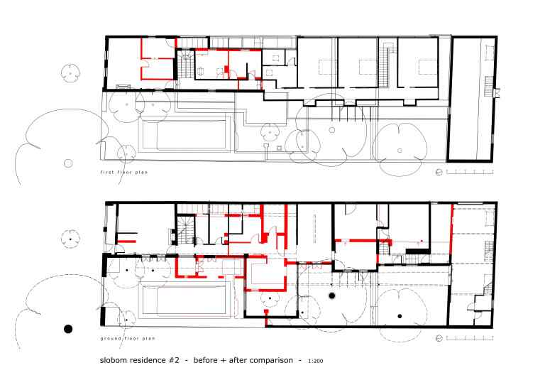 Slobom Residence #2_plans 4_before+after comparison 1_Stephen Varady Image ©