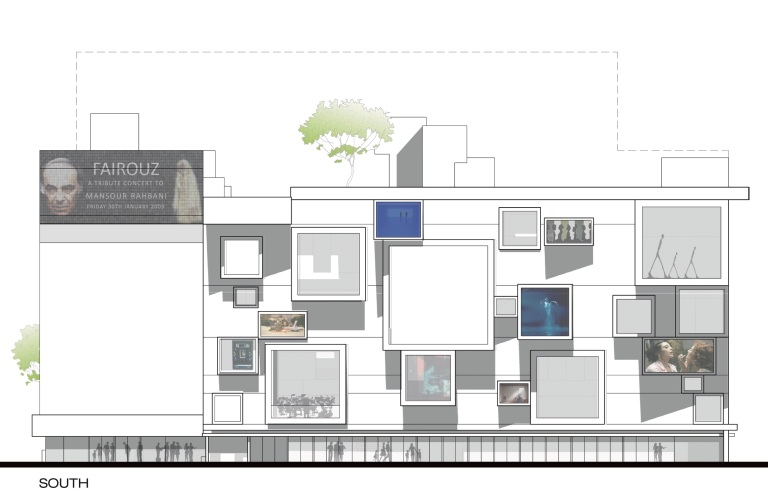 beirut house of arts + culture_elevation_south