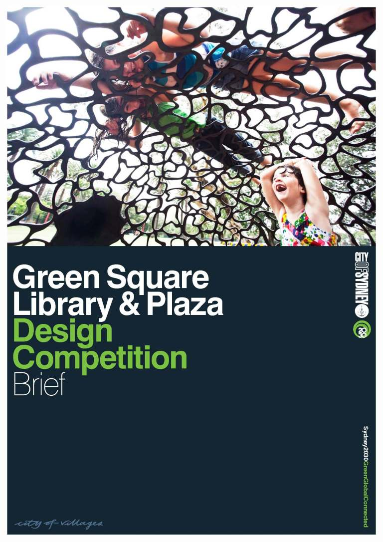 green square library + plaza competition brief cover