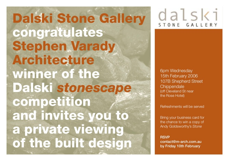 Dalski Stone Competition_Winner Invitation_Stephen Varady Image ©