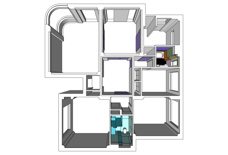 Porter Apartment_plan 3D_closed_Stephen Varady Image ©