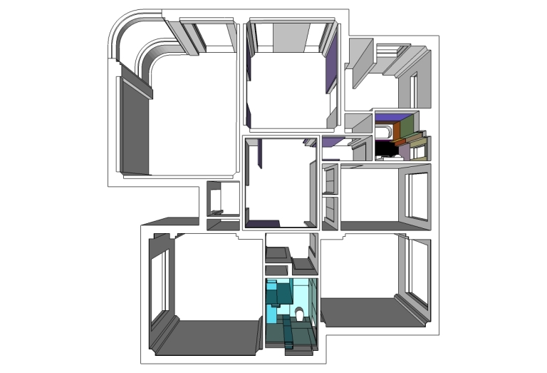 Porter Apartment_plan 3D_open_Stephen Varady Image ©