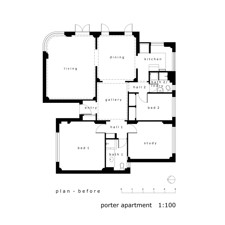 Porter Apartment_plan1_before_Stephen Varady Image ©